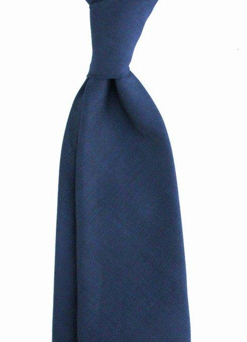 Granatowy WEŁNIANY Krawat BEZ PODSZEWKI w melanżu z czernią