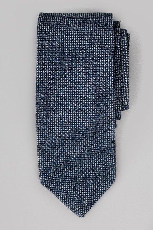 Granatowy krawat wełniano- jedwabny w melanżu