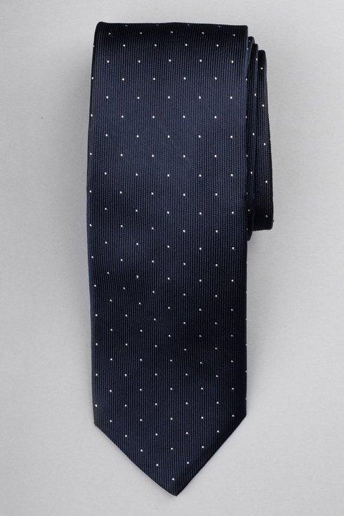 Granatowy krawat z jedwabiu żakardowego polka dots