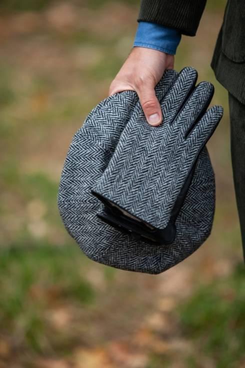 Ocieplane rękawiczki z harris tweedu jodła