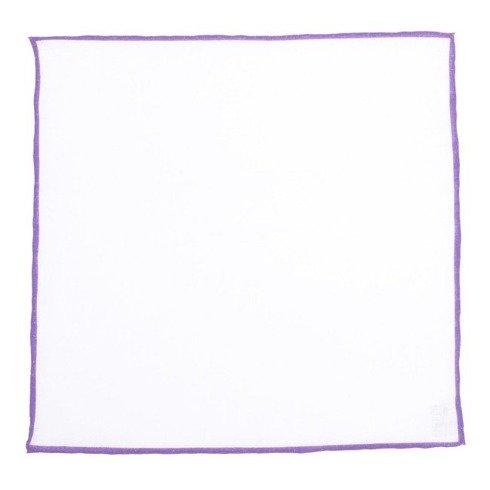 Poszetka lniana z fioletowym brzegiem