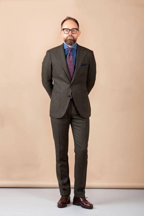 Preorder: zielony garnitur tweedowy w jodłę