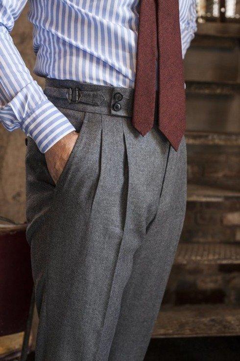 """Spodnie z szarej flaneli """"Alfred I"""""""