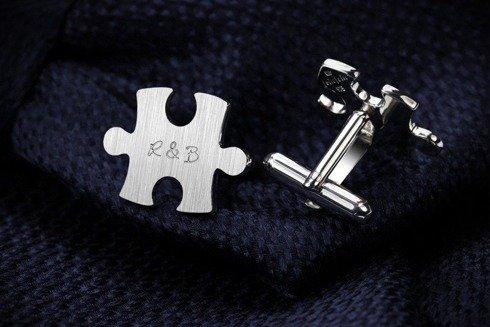 Srebrne Spinki do mankietów Puzzle