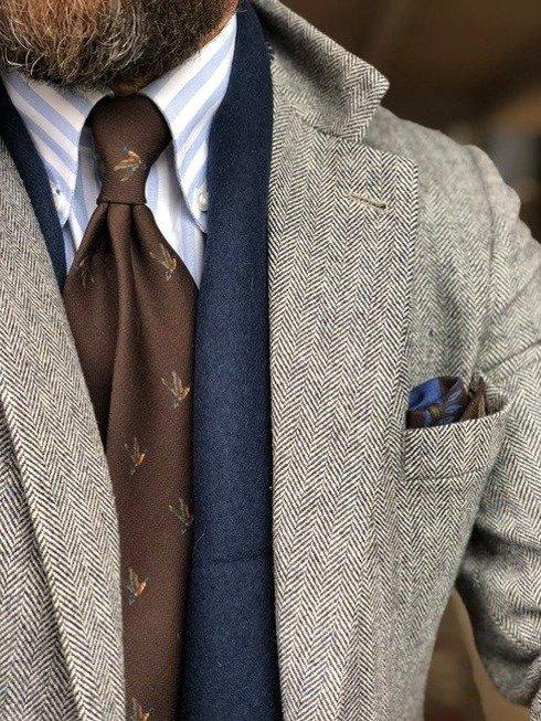 krawat bez podszewki wool challis brązowa kaczka
