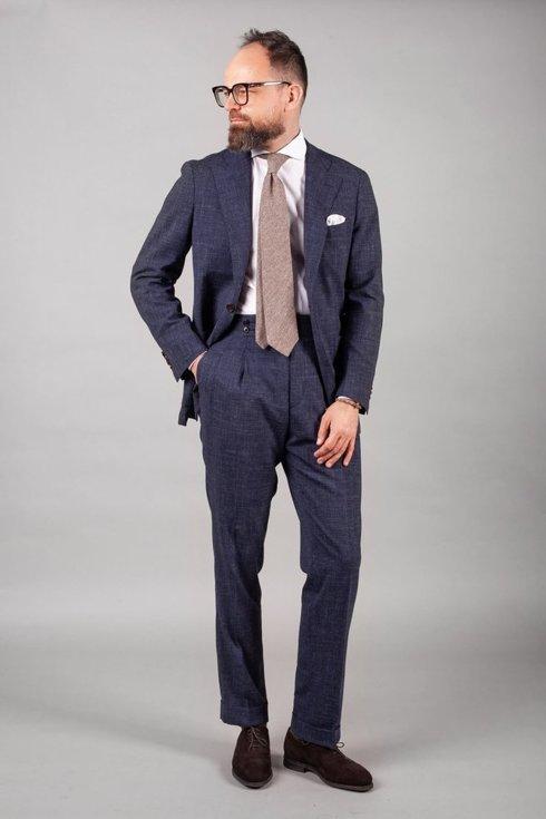 Beżowy krawat wełniano- jedwabny w melanżu
