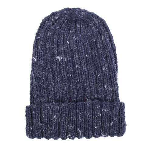 GRANATOWA czapka robiona na drutach / merynos + konopie