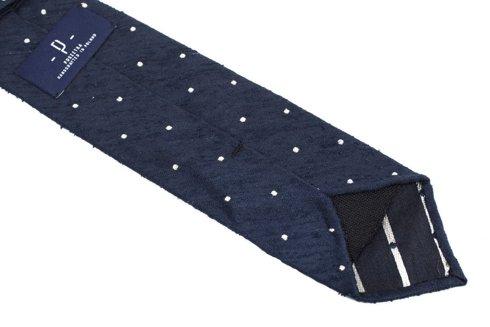Granatowy krawat w kropki z szantungu bez podszewki