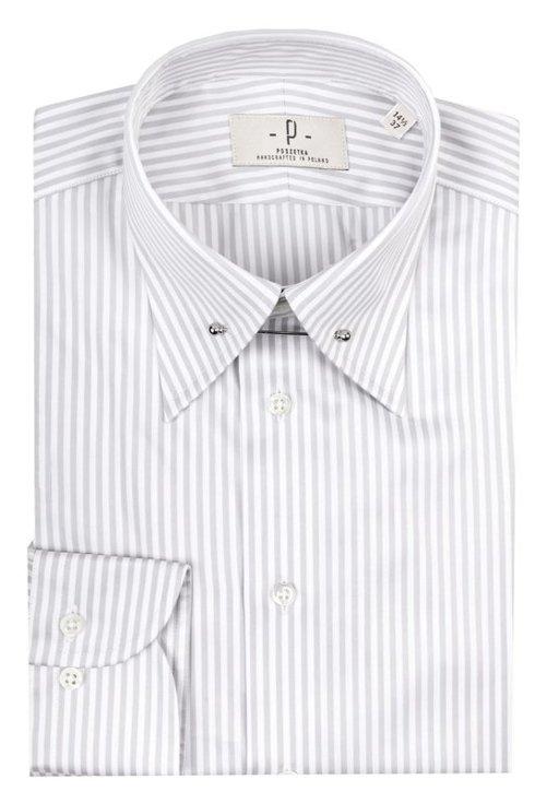 Koszula pin collar szary prążek