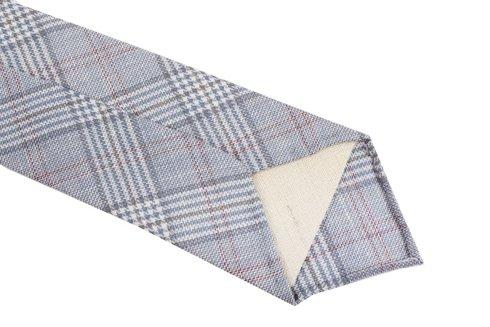 Lniano- wełniany krawat bez podszewki. Krata w odcieniach jasnego błękitu.