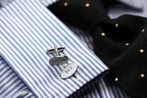 Srebrne Klasyczne Spinki do mankietów z personalizacją