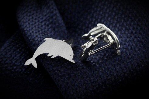 Srebrne Spinki do mankietów Delfiny