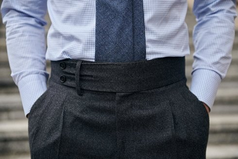 Wełniane spodnie w pepitę