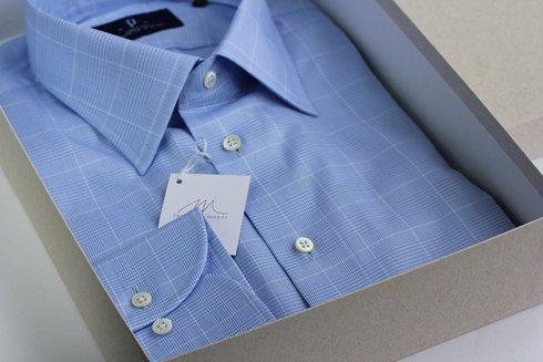 błękitna koszula w Kratkę Księcia Walii