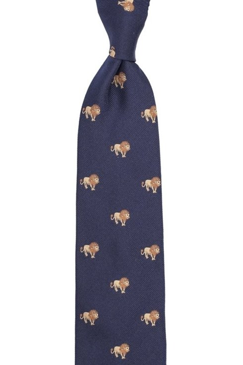 jedwabny granatowy krawat w lwy