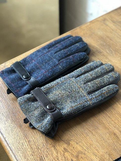 ocieplane rękawiczki z z harris tweedu, zieleń-beż